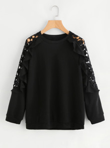 Guipure Lace Panel Frill Trim Sweatshirt
