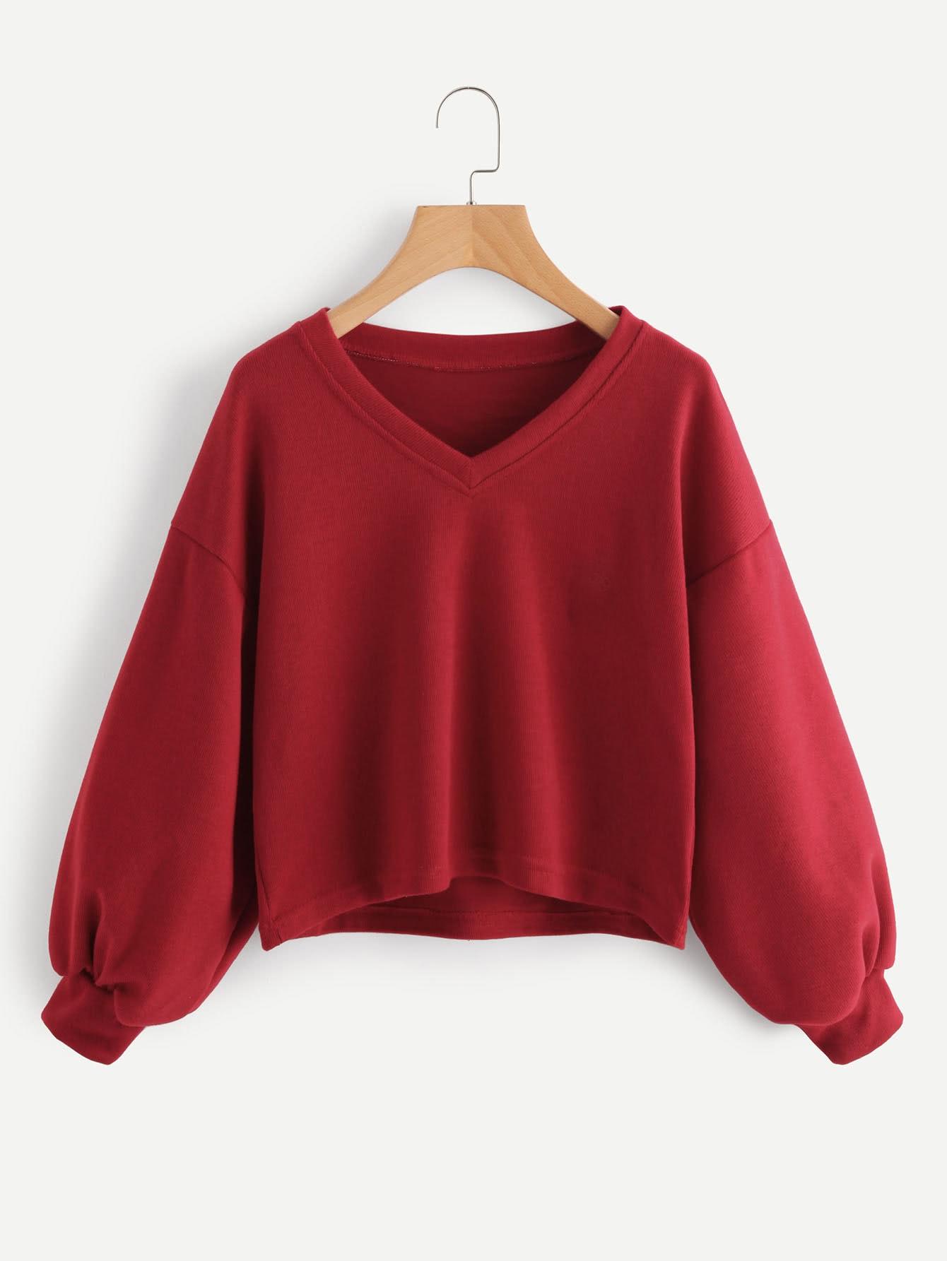 V Neckline Drop Shoulder Lantern Sleeve Sweatshirt
