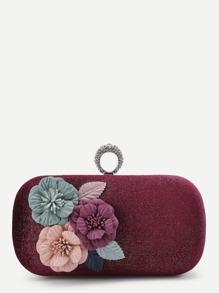 Flower Applique Velvet Crossbody Bag