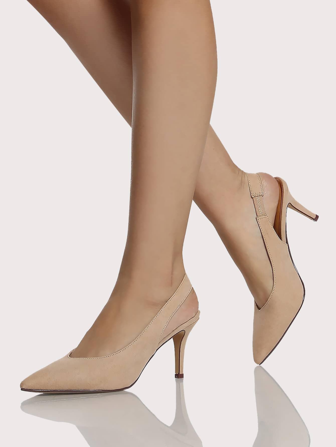Pointy Toe Sling Back Pump Heels NUDE