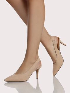 Pointy Toe Sling Back Pump Heels NUDE