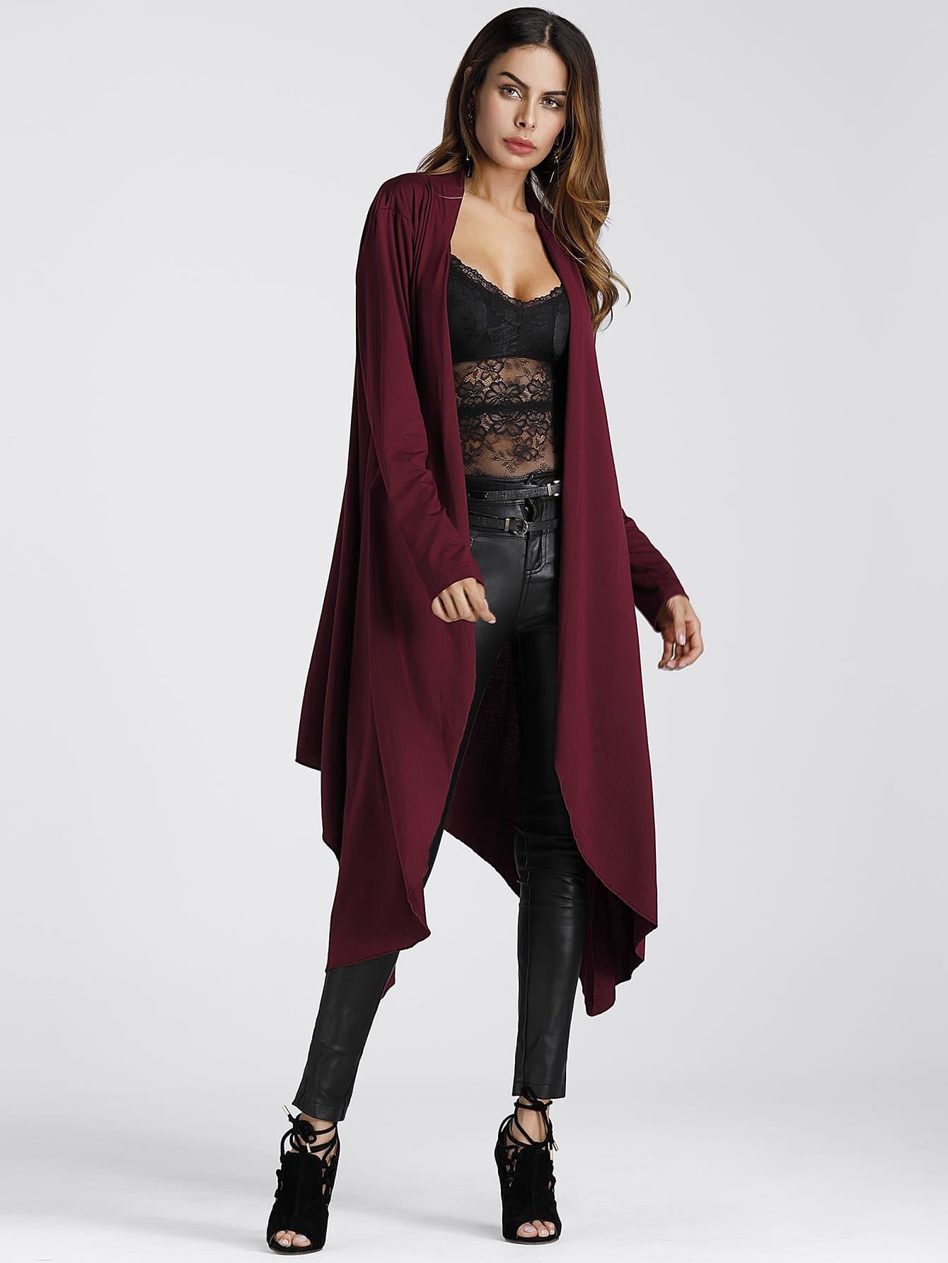 Asymmetric Hem Longline Cardigan Coat -SheIn(Sheinside)