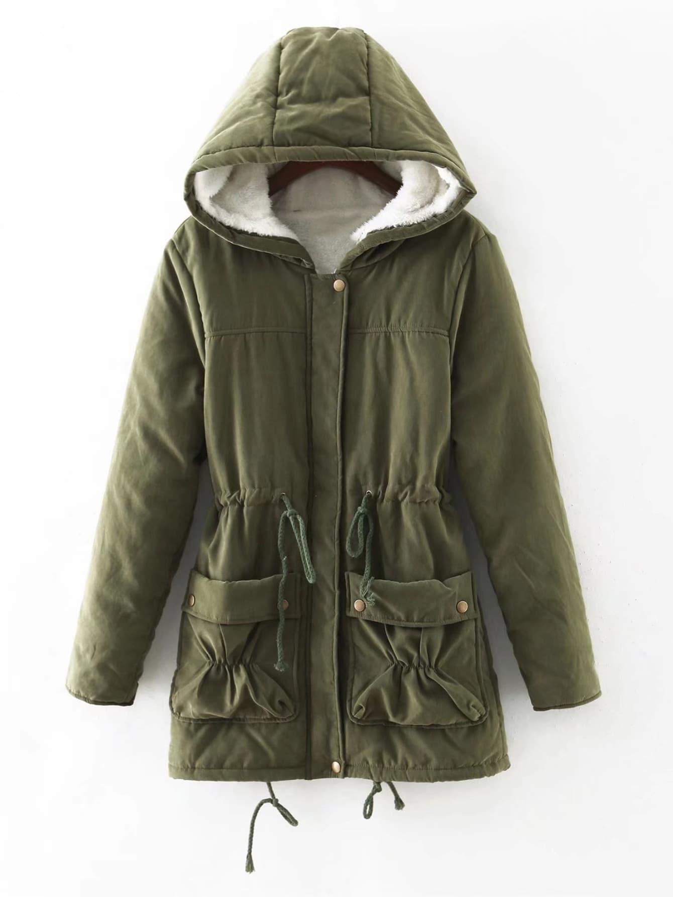 Fuzzy Lined Utility Parka Coat faux fur lined parka coat