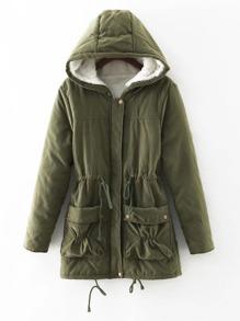 Fuzzy Lined Utility Parka Coat