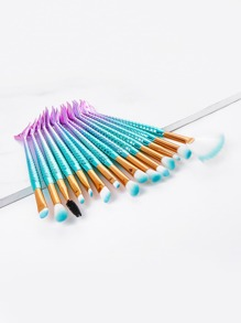 Ombre Mermaid Shaped Makeup Brush 15pcs