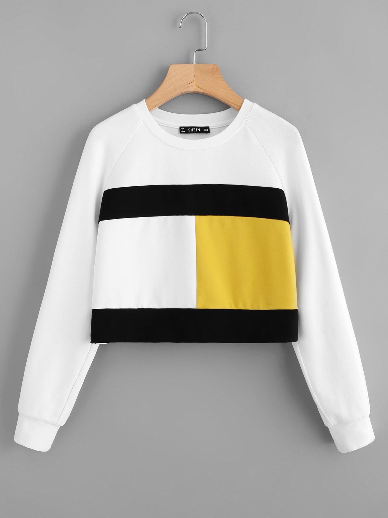 Color Block Raglan Sleeve Sweatshirt two tone raglan sleeve sweatshirt