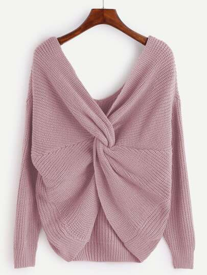 V Neckline Twist Front Sweater