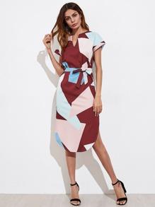 V Cut Slit Side Curved Hem Self Tie Dress
