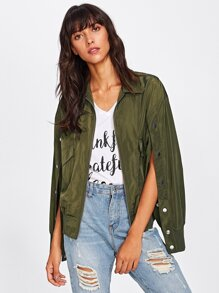 Press Buttoned Split Sleeve Bomber Jacket