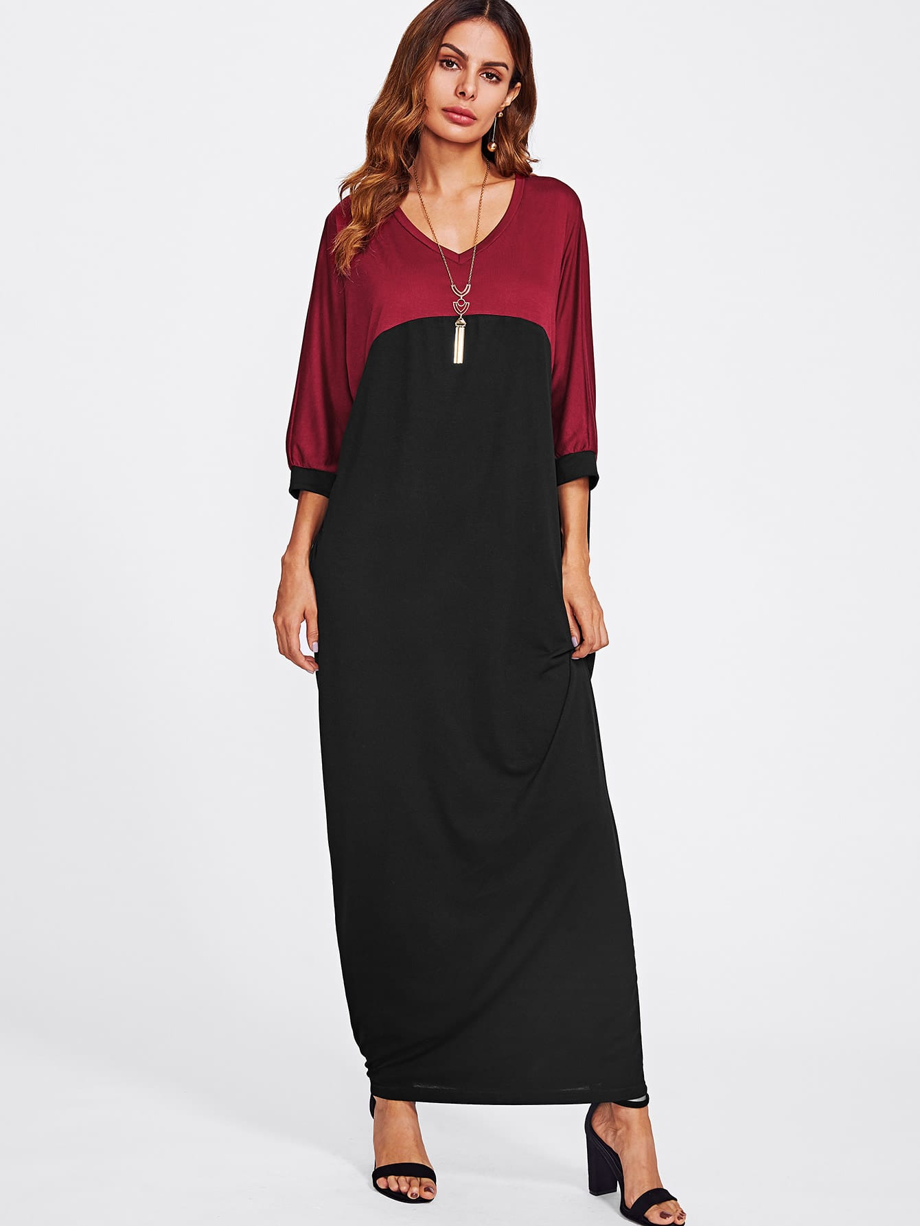 Image of Batwing Sleeve Contrast Longline Dress