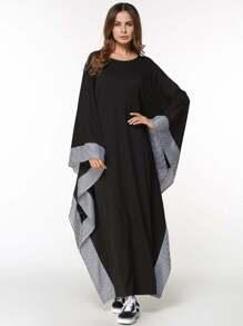 Gingham Hem Contrast Long Hijab Dress