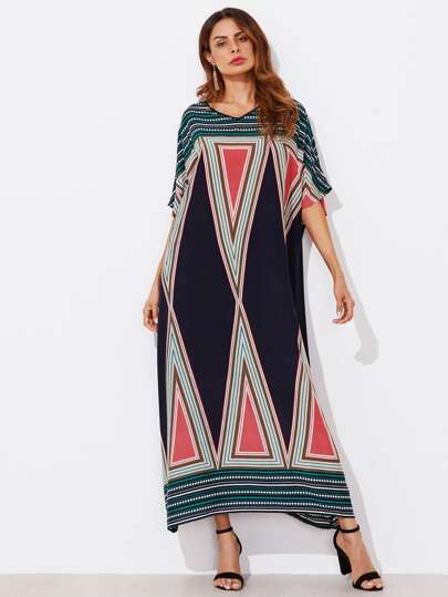 Geo Print Dolman Sleeve Oversized Dress