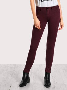 Mid Rise Pants BURGUNDY