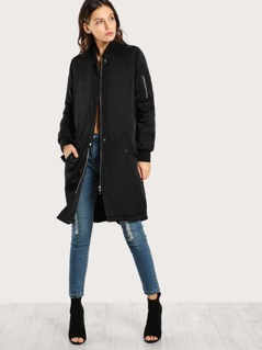 Puffed Longline Bomber Coat BLACK