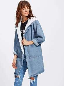 Cappotto di jeans con cappuccio , con spalle scivolate
