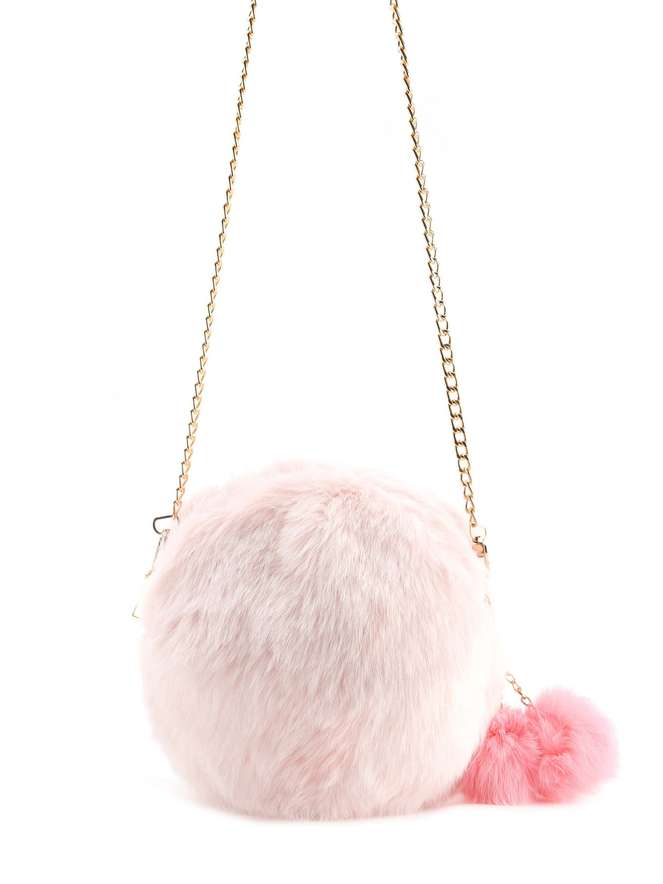 Faux Fur Overlay Crossbody Bag With Pom Pom faux fur overlay tote bag