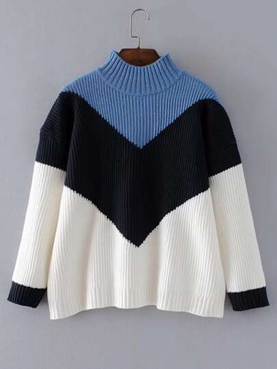 Chevron Block Ribbed Knit Sweater