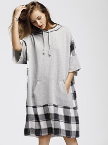 Check Plaid Panel Raw Edge Marled Hooded Dress