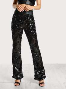 High Rise Sequin Pants BLACK