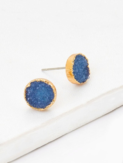 Contrast Round Stud Earrings
