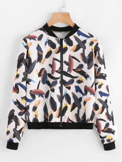 Contrast Trim Feather Print Jacket