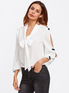 Bow Embellished Split Sleeve Tie Neck Blouse