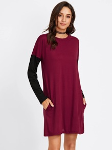 Contrast Sleeve Drop Shoulder Tee Dress