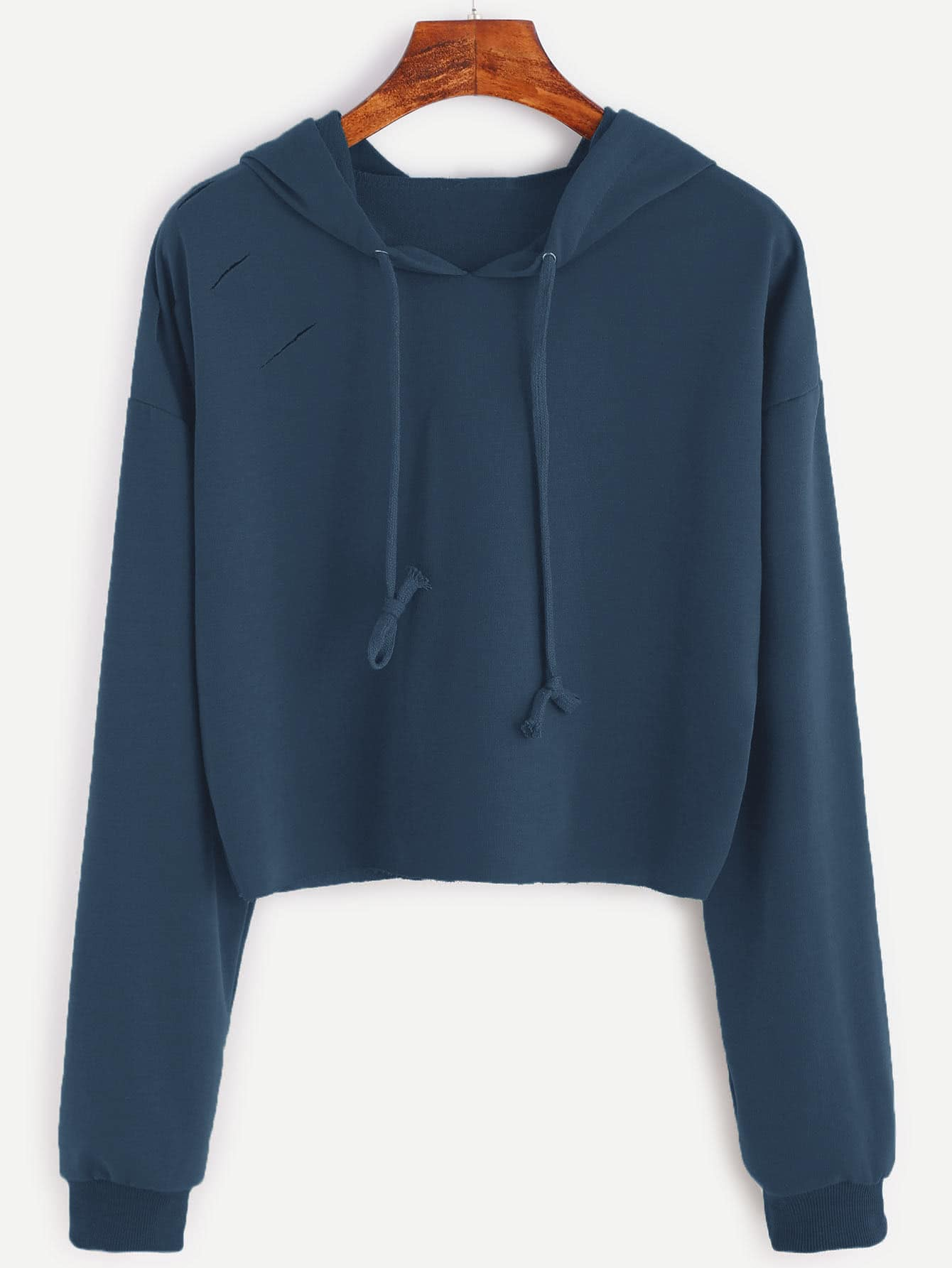 Drop Shoulder Ripped Hooded Crop Sweatshirt drop shoulder crop sweatshirt