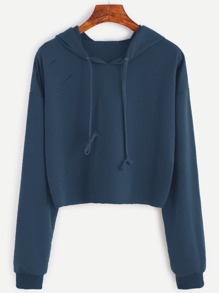 Drop Shoulder Ripped Hooded Crop Sweatshirt