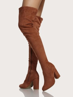 Faux Suede Zip Up Thigh High Boots MOCHA