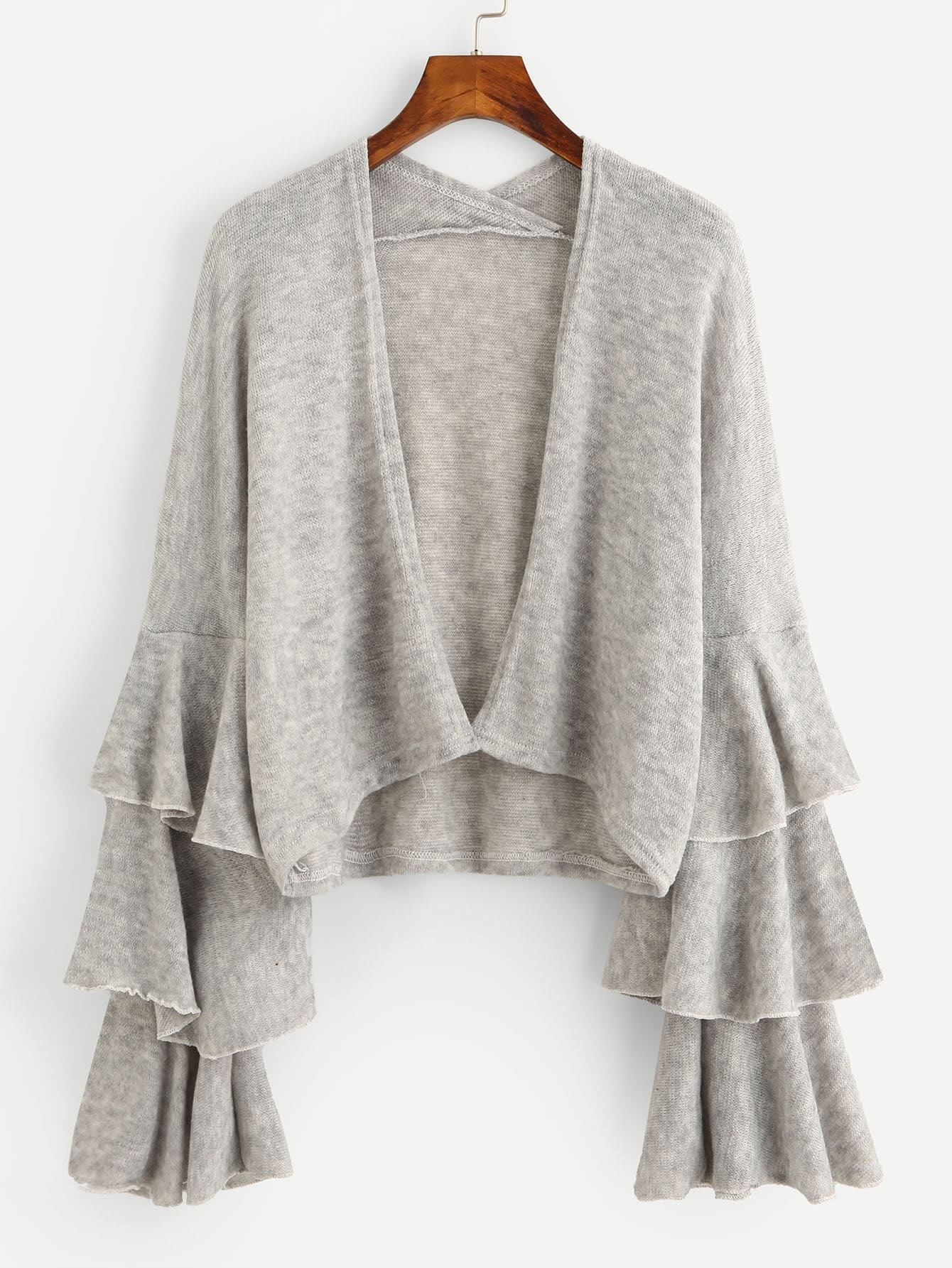 Tiered Frill Sleeve Open Front Knit Sweater Cardigan open knit long sweater