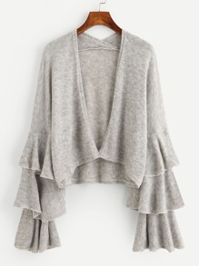 Tiered Frill Sleeve Open Front Knit Sweater Cardigan