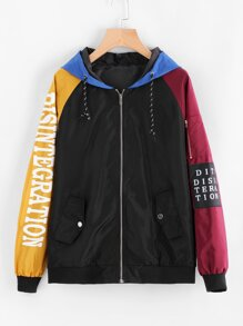 Contrast Sleeve Letter Print Patch Detail Hooded Jacket