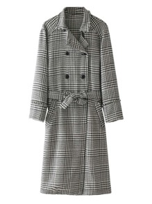 Double Breasted Self Tie Houndstooth Coat