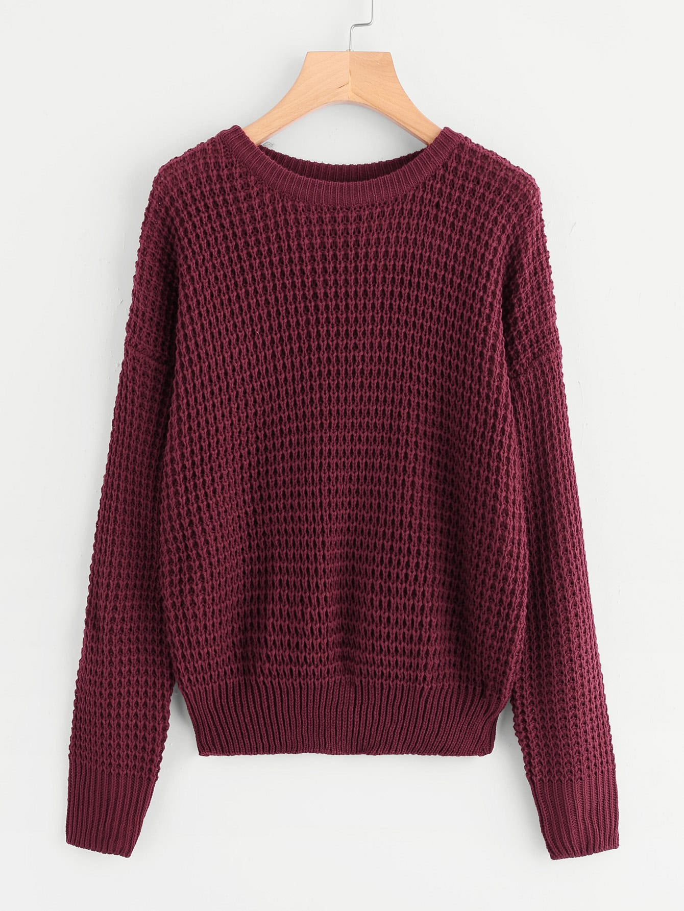 Drop Shoulder Loose Knit Sweater -SheIn(Sheinside)