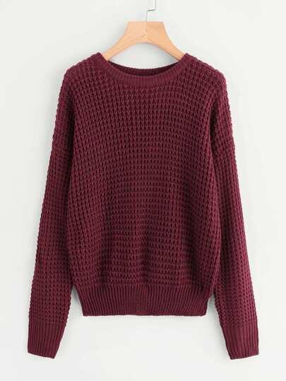 Drop Shoulder Loose Knit Sweater
