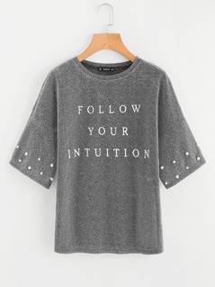 Drop Shoulder Pearl Beading Glitter T-shirt