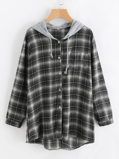 Dip Hem Checked Hooded Shirt