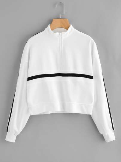 Sweat-shirt avec zip avant rayure