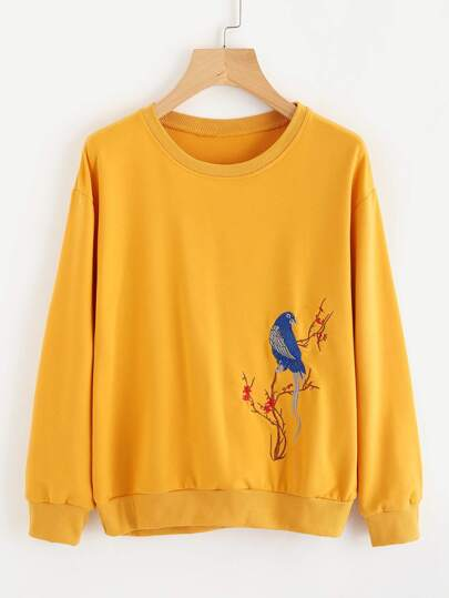 Sweat-shirt brodé oiseau