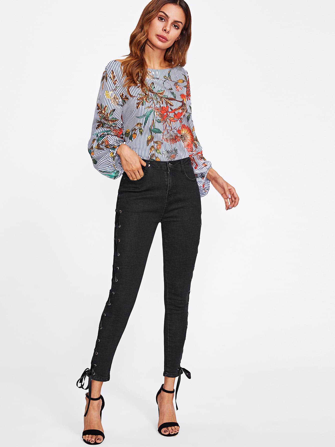 Grommet Lace Up Side Skinny Ankle Jeans
