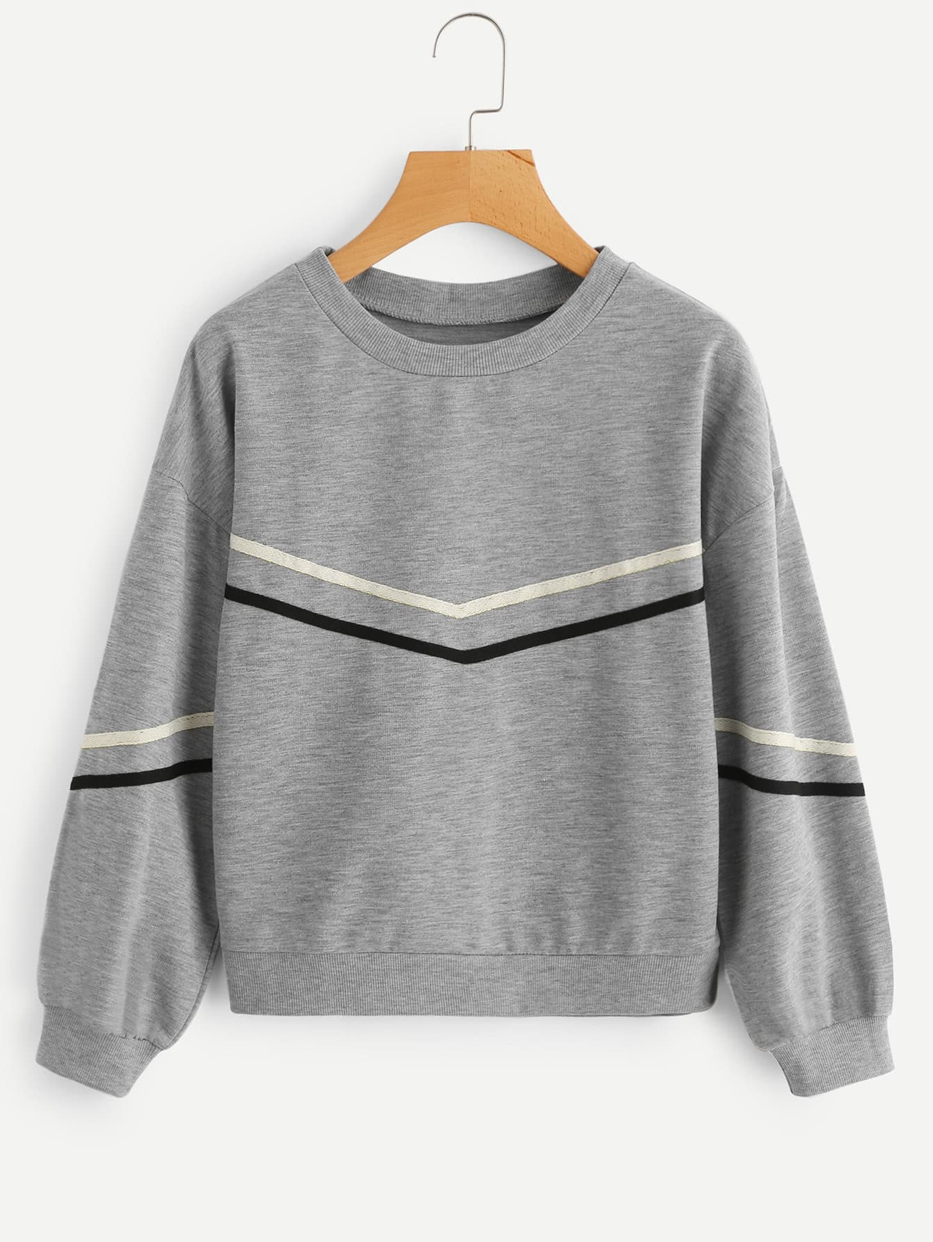 Tape Detail Drop Shoulder Marled Sweatshirt eyes print drop shoulder marled sweatshirt