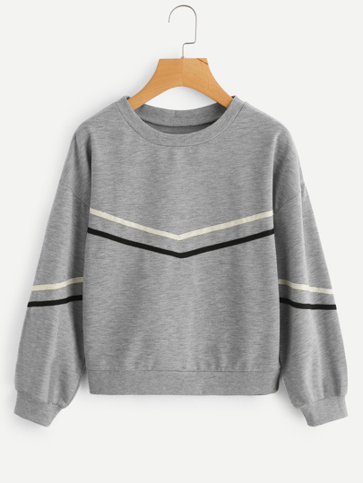 Tape Detail Drop Shoulder Marled Sweatshirt
