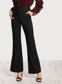 High Rise Flare Hem Pants BLACK