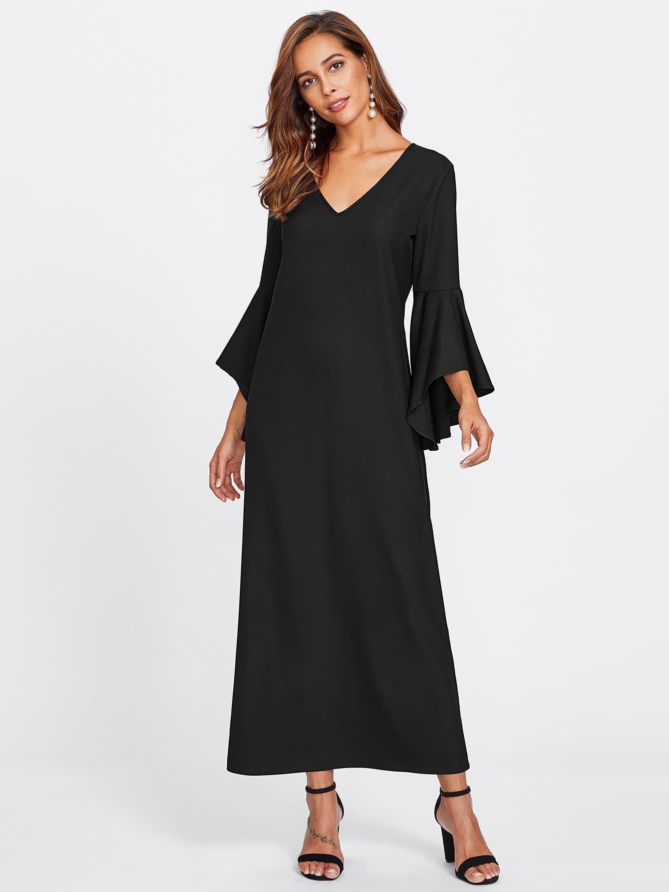 Image of Bell Sleeve Keyhole Back Hijab Evening Dress