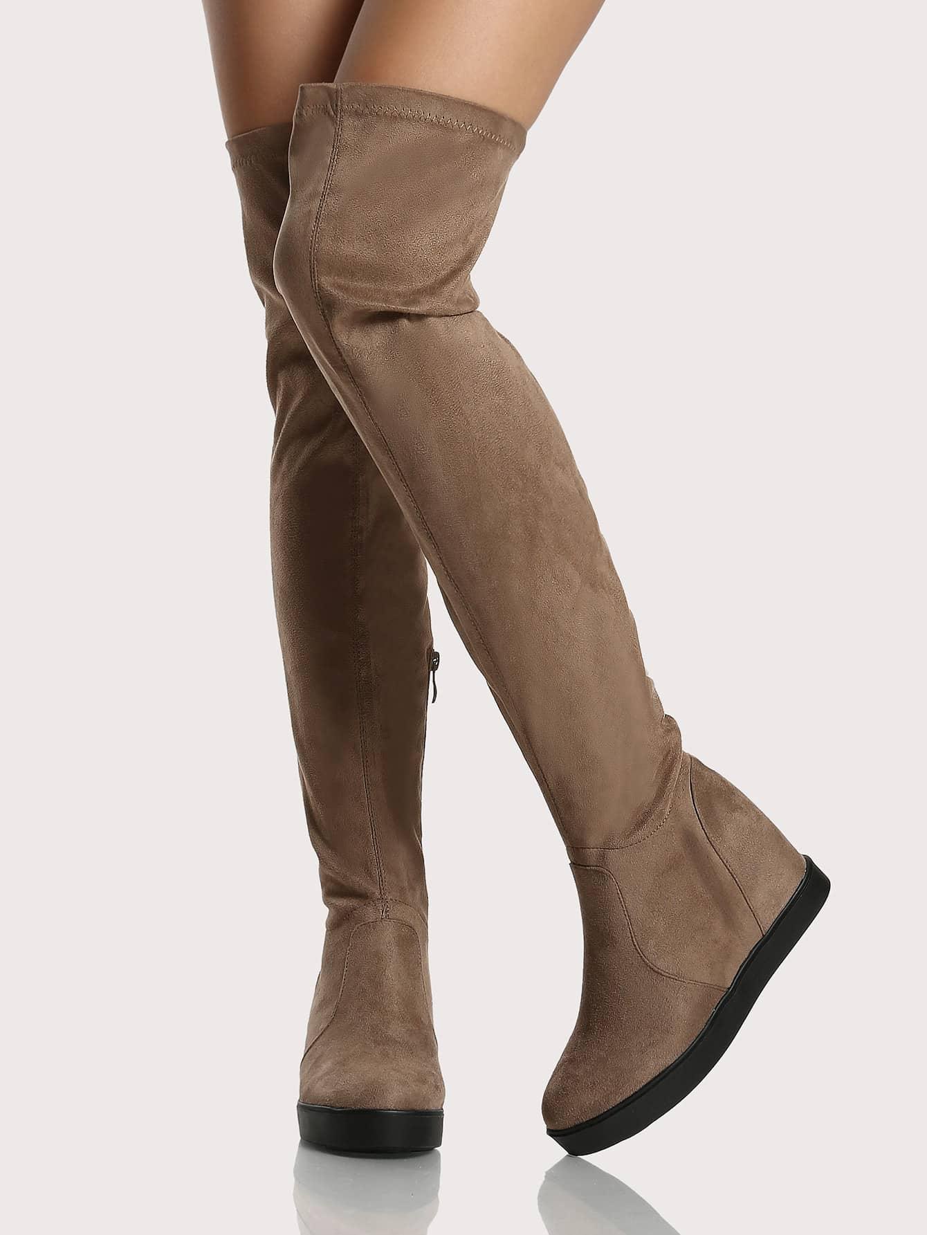 flat sole zip up otk boots taupe shein sheinside