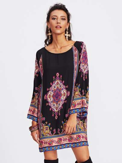 Ornate Print Raglan Sleeve Dress