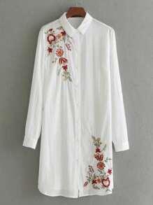 Embroidery Detail Shirt Dress