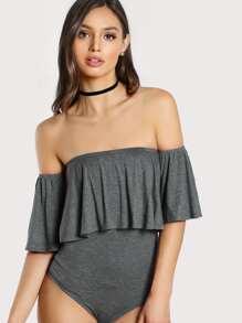 Flounce Off Shoulder Knit Bodysuit