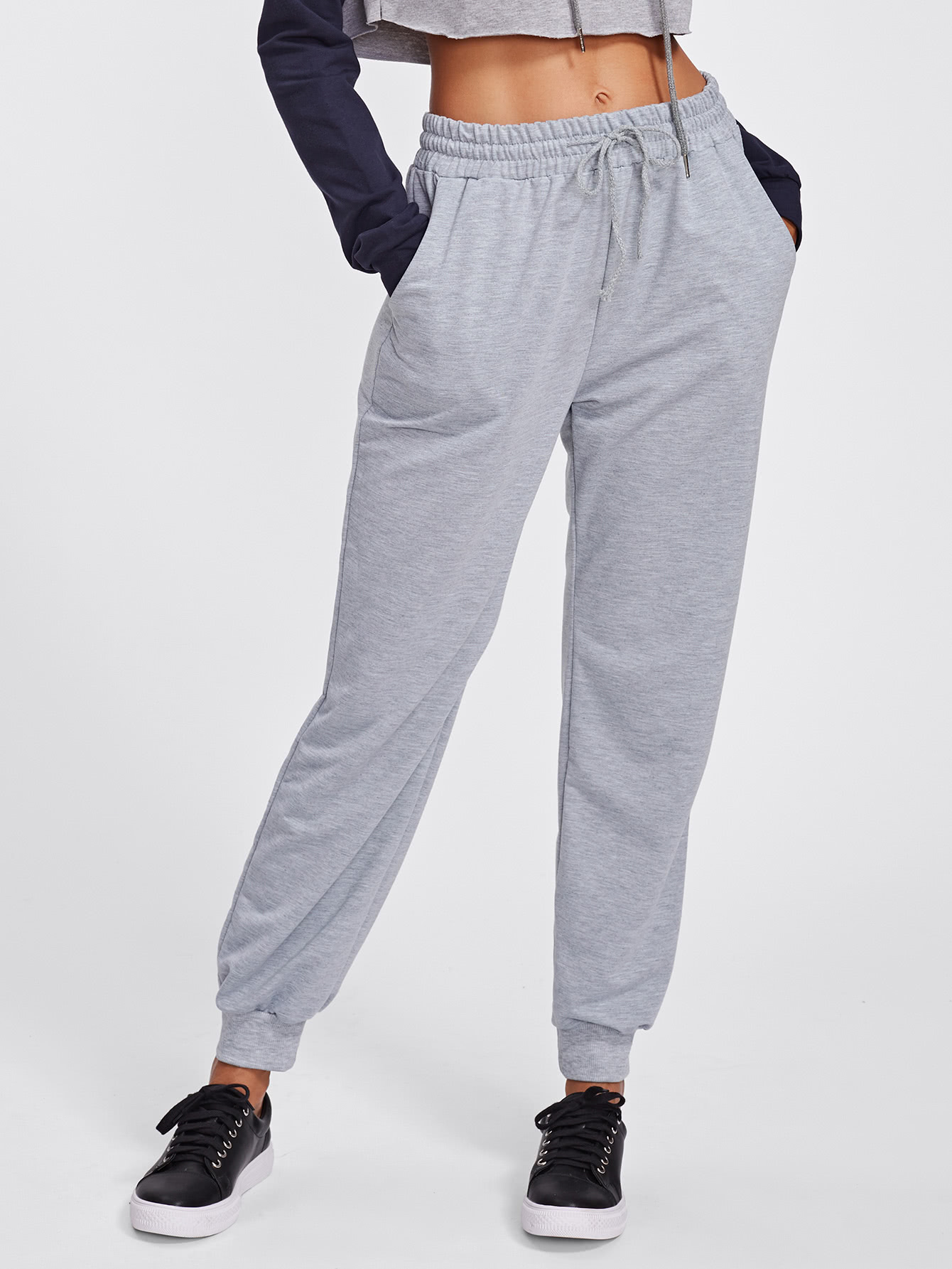 Drawstring Marled Sweatpants pants170904302